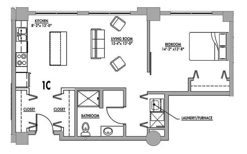 Floor Plan 1c Junior House Lofts
