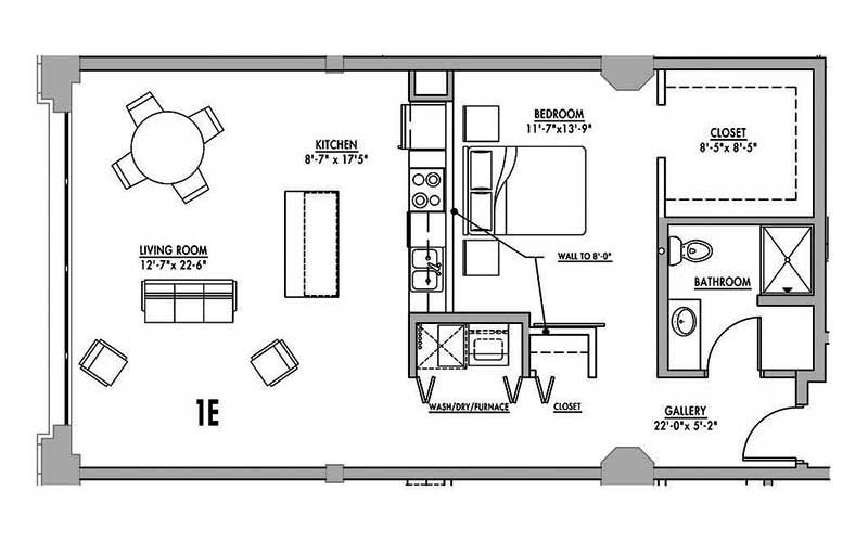 Floor plan 1e junior house lofts for 1 bedroom home floor plans