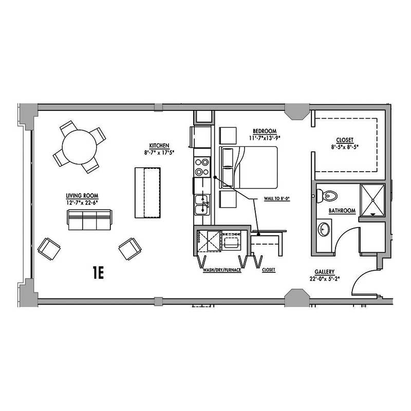 Floor plan 1e junior house lofts for 1 bedroom with loft