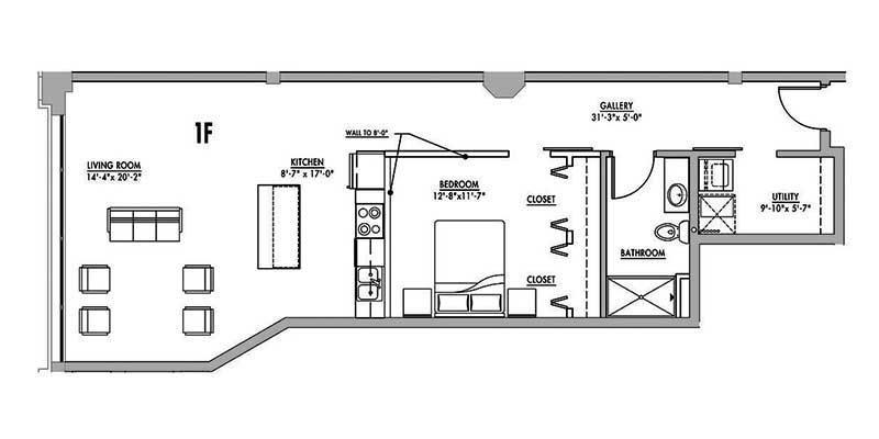 Floor plan 1f junior house lofts for Studio loft apartment floor plans