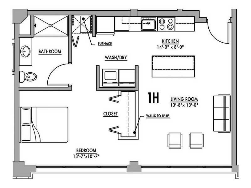 Floor plan 1h junior house lofts for Loft floor plans with dimensions