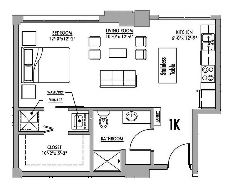 floor plan 1k junior house lofts. Black Bedroom Furniture Sets. Home Design Ideas