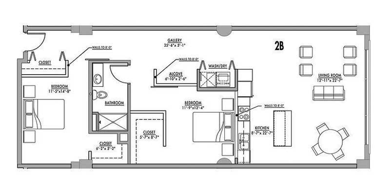 Floor plan 2b junior house lofts for Plan de loft