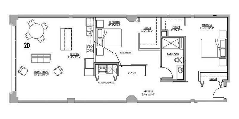 Floor plan 2d junior house lofts for Two bedroom loft floor plans